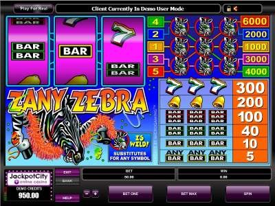 Zany Zebra Slot Machine - Free to Play Demo Version